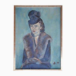 Impressionistisches Frauenporträt in Blauem Ölgemälde 1944