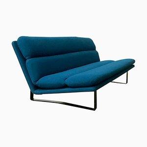 3-Sitzer Bank aus Stoff mit Schwarzem Bezug und Meeresblauem Bezug von Kho Liang Ie & Wim Crouwel für Artifort, 1980er