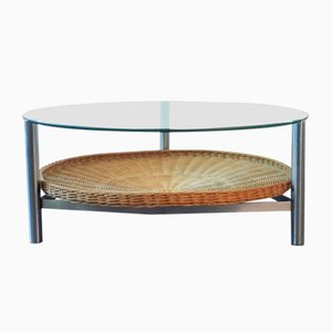 Vintage Dutch Metal, Wicker, and Glass Coffee Table