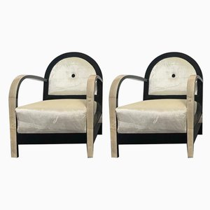 Art Deco Black Lacquered and Parchment Lounge Chairs, 1930s, Set of 2