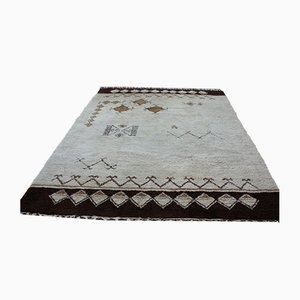Morroccan Hand-Knotted Wool on Cotton Berber Carpet, 1950s