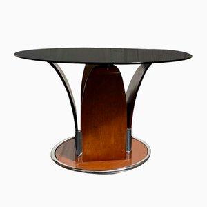 Mesa de comedor italiana de acero y madera de cerezo, años 60