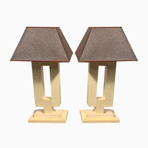 Art Deco Parchment Table Lamps, 1940s, Set of 2