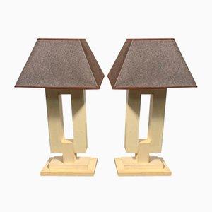Art Deco Pergament Tischlampen, 1940er, 2er Set