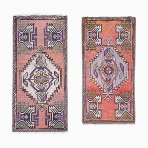 Small Vintage Hand Knotted Turkish Rugs, 1970s, Set of 2