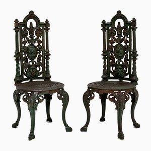Antike Viktorianische Gartenstühle aus Gusseisen, 2er Set