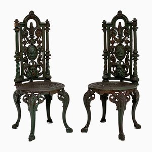 Antique Victorian Cast Iron Garden Chairs, Set of 2