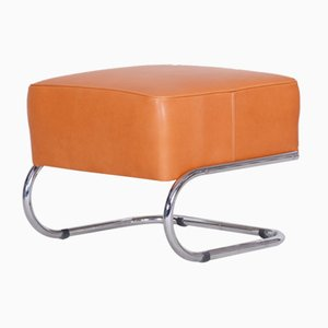 Modernist Chrome Plated Steel and Orange Leather Tubular Stool from Slezák, 1930s