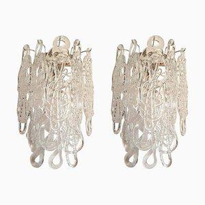 Apliques Mid-Century transparentes de cristal de Murano con forma de espagueti de Mazzega, años 70. Juego de 2