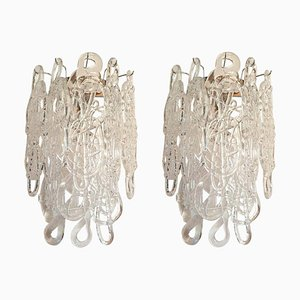 Mid-Century Clear Spaghetti Murano Glass Sconces from Mazzega, 1970s, Set of 2
