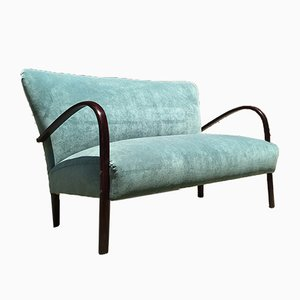 Aquamarine Velvet and Dark Wood Sofa, 1950s