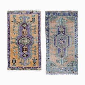 Small Vintage Turkish Distressed Rugs, 1970s, Set of 2