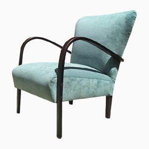 Italian Aquamarine Velvet and Dark Wood Lounge Chairs, 1950s, Set of 2