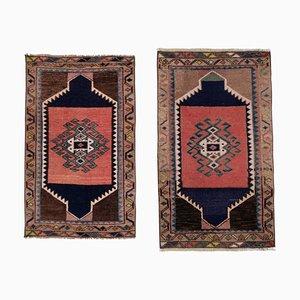 Kleine handgemachte türkische Vintage Teppichmatten, 1970er, 2er Set