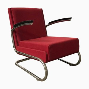 Dutch Burgundy Red Tubular Easy Chair with Black Armrests, 1960s