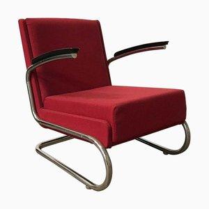 Easy Chair Tubulaire Rouge Bordeaux avec Accoudoirs Noirs, Pays-Bas, 1960s