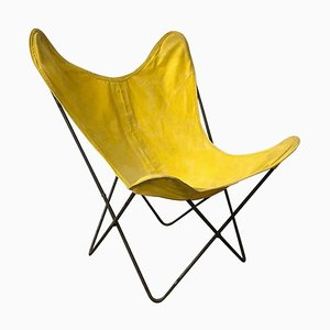 Yellow and Black Butterfly Chair by Jorge Ferrari-Hardoy, 1960s
