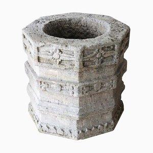 Antikes achteckiges Brunnen Ornament aus geschnitztem Steingut, 1850er
