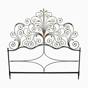 Antique Gilded Wrought Iron Headboard, 1910s