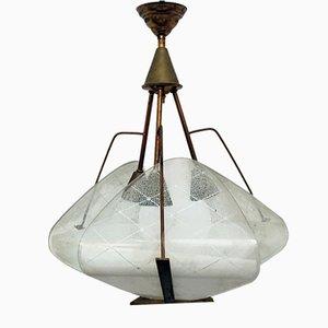 Italian Brass and Opaline Glass 3-Light Ceiling Lamp, 1950s