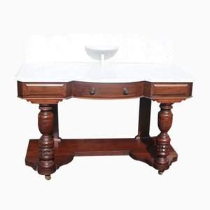Antique Mahogany Wash Stand with White Marble Top