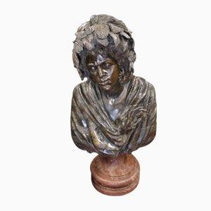 Grande Sculpture d'une Femme sur Socle en Marbre Antique en Bronze