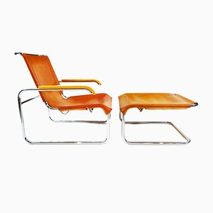 Vintage Leather and Chrome Model B35 Armchair and Footstool Set by Marcel Breuer for Thonet, 1980s