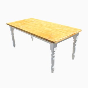 Antique Pinewood Dining Table with Painted Legs, 1920s