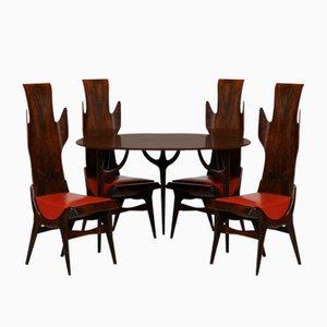 Juego de mesa de comedor y sillas modelo Flame de palisandro de Latorre Dante para Pozzi, años 50. Juego de 5