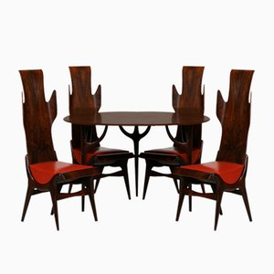 Rosewood Model Flame Dining Table & Chairs Set by Latorre Dante for Pozzi, 1950s, Set of 5