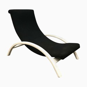 Black Fabric and White Wood Adjustable Easy Chair, 1960s