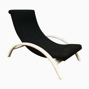 Schwarzer Stoff und Weißer Verstellbarer Sessel, 1960er