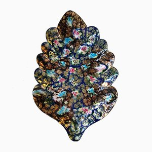 Norwegian Copper and Enamel Psychedelic Leaf Dish, 1970s