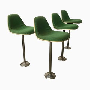 Green Fabric Barstools by Charles & Ray Eames for Herman Miller, 1970s, Set of 4