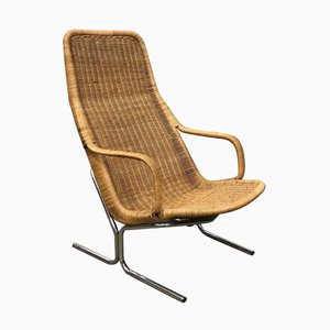 Chrome and Wicker Model 514 Lounge Chair by Dirk van Sliedregt for Gebroeders Jonkers Noordwolde, 1980s