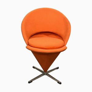 Sedia conica in tessuto arancione di Verner Panton per Rosenthal, anni '50