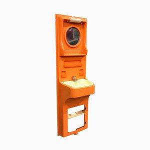 Spanischer Orangenfarbener Mid-Century Kunststoff Waschtisch von Vidal