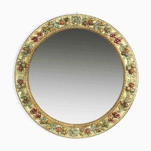 Specchio rotondo intagliato di Chelini, anni '80