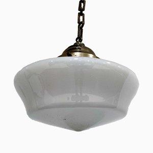 Vintage Conical Opaline Pendant Lamp, 1930s