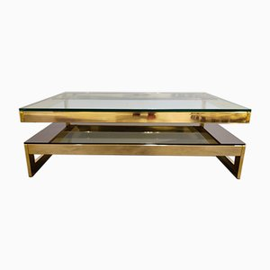 Vintage Gold Two Tier Coffee Table from Belgo Chrom / Dewulf Selection, 1970s