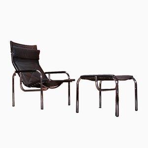 Schweizer Vintage Sessel und Fußhocker von Hans Eichenberger für Strässle, 1970er