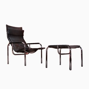 Vintage Swiss Lounge Chair and Ottoman Set by Hans Eichenberger for Strässle, 1970s