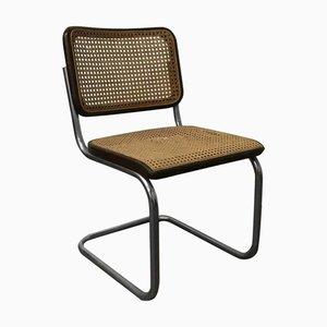 Chaise de Salon Modèle S32 avec Structure en Osier et Cadre Noir par Marcel Breuer pour Thonet, 1960s