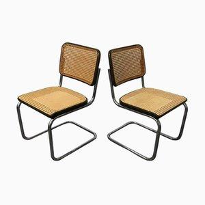 Chaises de Salle à Manger Modèle S32 avec Structure en Osier et Cadre Noir par Marcel Breuer pour Thonet, 1970s, Set de 2