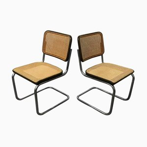 Wicker and Black Frame Model S32 Dining Chairs by Marcel Breuer for Thonet, 1970s, Set of 2