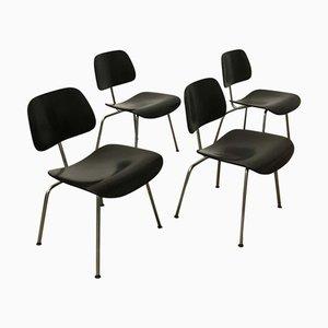 Sedie da pranzo DCM nere di Charles & Ray Eames per Vitra, inizio XXI secolo, set di 4