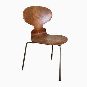 Sedia Ant in metallo e legno di Arne Jacobsen per Fritz Hansen, anni '60