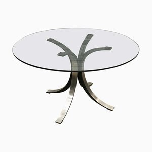 Round Glass Model T69 Dining Table by Osvaldo Borsani & Eugenio Gerli for Tecno, 1970s