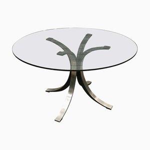Tavolo da pranzo modello T69 rotondo in vetro di Osvaldo Borsani ed Eugenio Gerli per Tecno, anni '70
