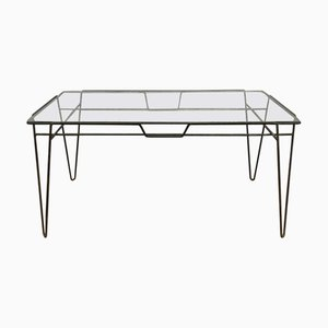 Black Metal Hairpin Legs and Glass Top Dining Table, 1960s